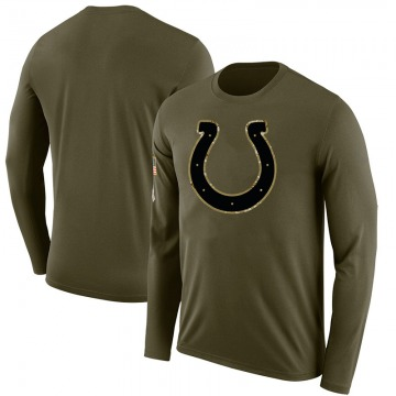 Men's Blank Indianapolis Colts Salute to Service Sideline Olive Legend Long Sleeve T-Shirt