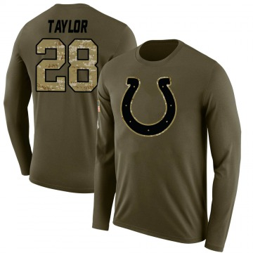 Men's Jonathan Taylor Indianapolis Colts Salute to Service Sideline Olive Legend Long Sleeve T-Shirt