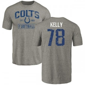 Men's Ryan Kelly Indianapolis Colts Gray Distressed Name & Number Tri-Blend T-Shirt