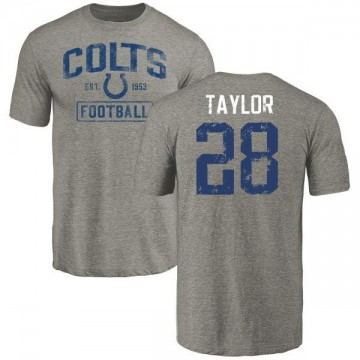 Youth Jonathan Taylor Indianapolis Colts Gray Distressed Name & Number Tri-Blend T-Shirt